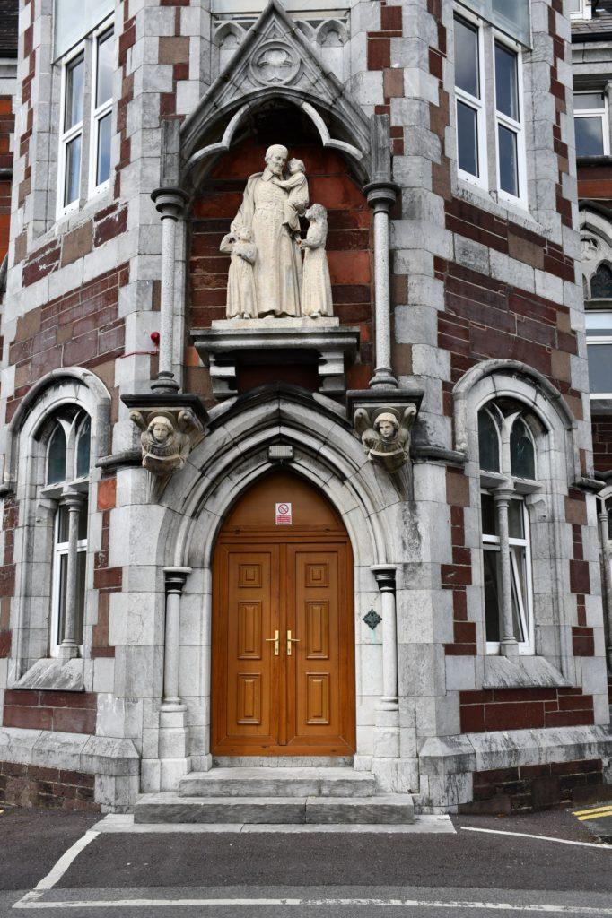 Entrance and Statue of St. Vincent de Paul